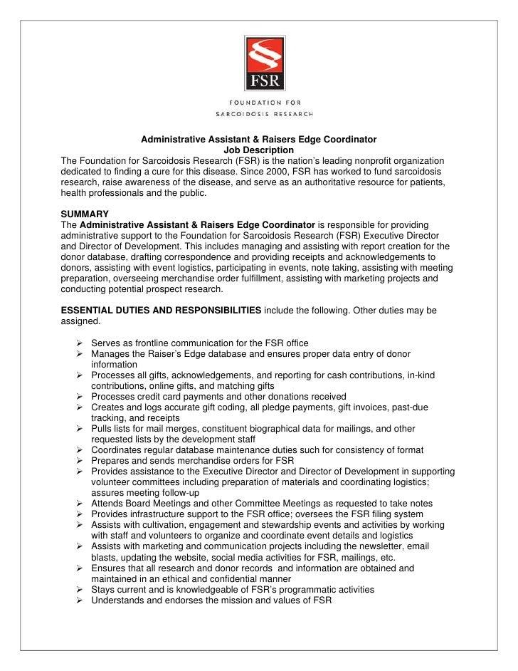 Administrative Assistant U0026 Raisers Edge Coordinator ...