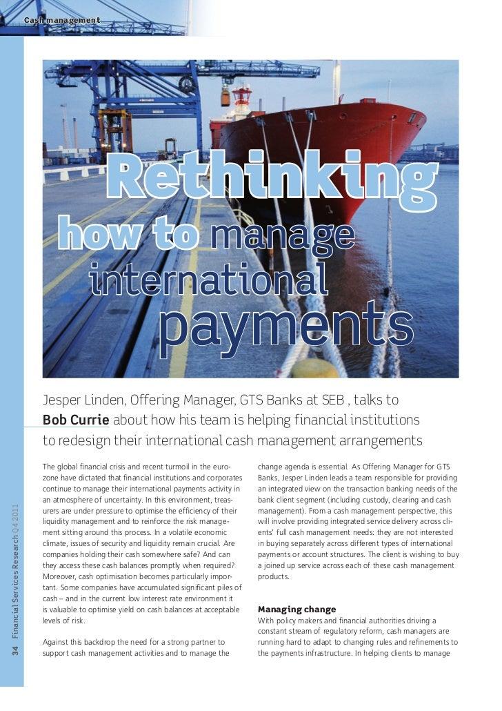Cash management                                                            Rethinking                                     ...