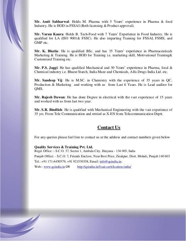 FSSAI Certification Consultants Company India