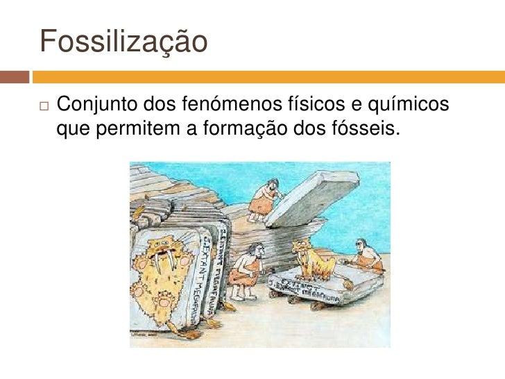 Fossilização<br />Conjunto dos fenómenos físicos e químicos que permitem a formação dos fósseis.<br />