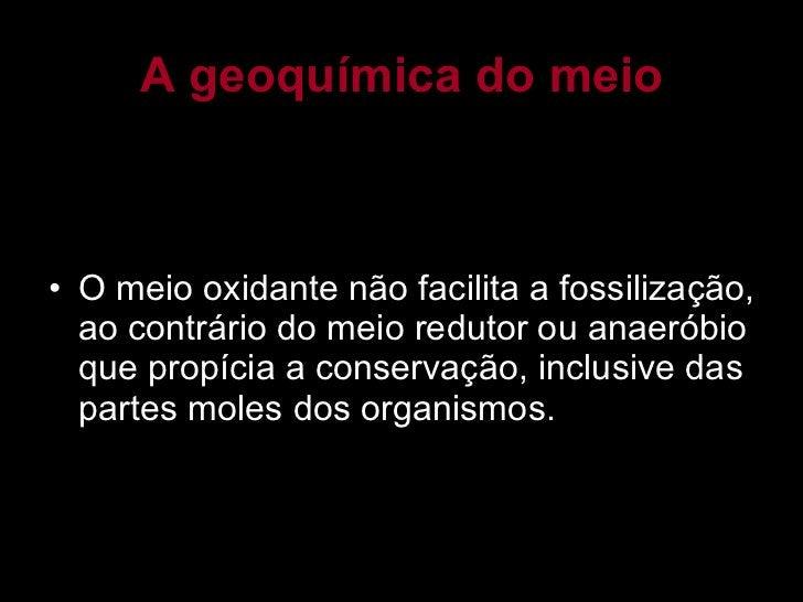 A geoquímica do meio <ul><li>O meio oxidante não facilita a fossilização, ao contrário do meio redutor ou anaeróbio que pr...