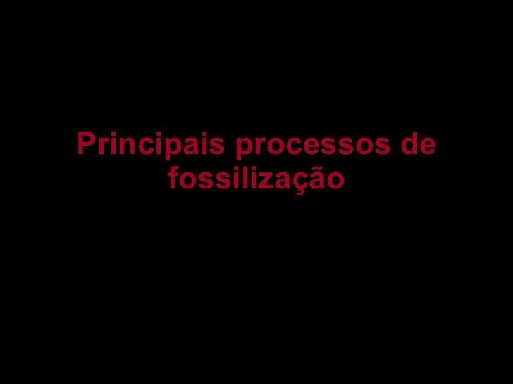 Principais processos de fossilização