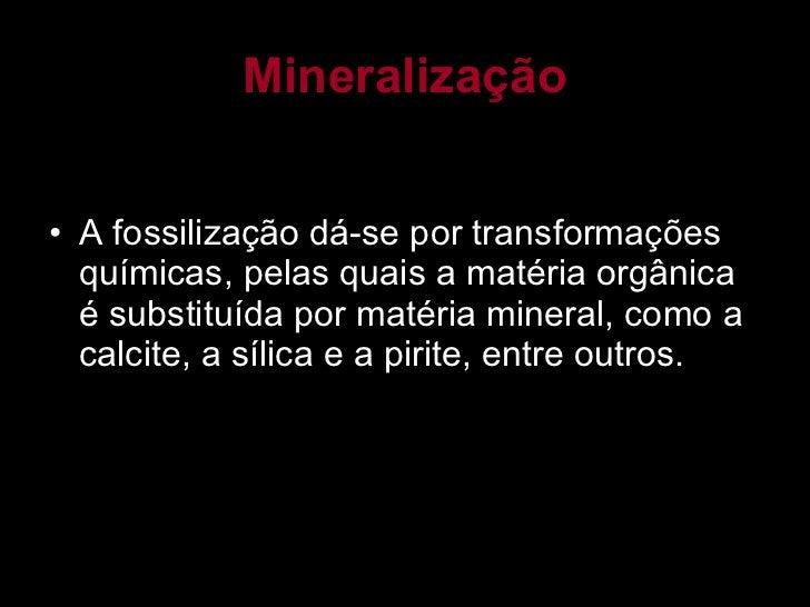 Mineralização <ul><li>A fossilização dá-se por transformações químicas, pelas quais a matéria orgânica é substituída por m...