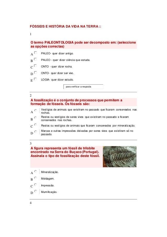 FÓSSEIS E HISTÓRIA DA VIDA NA TERRA ::  1  O termo PALEONTOLOGIA pode ser decomposto em: (seleccione  as opções correctas)...