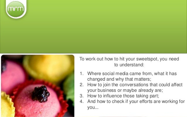 To work out how to hit your sweetspot, you need to understand: 1. Where social media came from, what it has changed and wh...