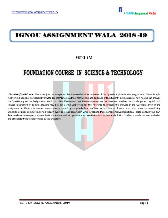 ignou Fst 2019-solved-assignment