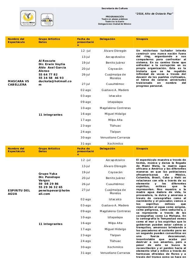 """Secretaría de Cultura  """"2014, Año de Octavio Paz"""" PROGRAMACIÒN Teatro en plazas públicas Teatro en tu barrio Delegaciones..."""