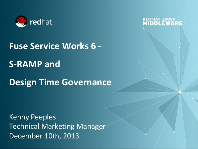 Fuse Service Works 6 S-RAMP and Design Time Governance Kenny Peeples Technical Marketing Manager December 10th, 2013