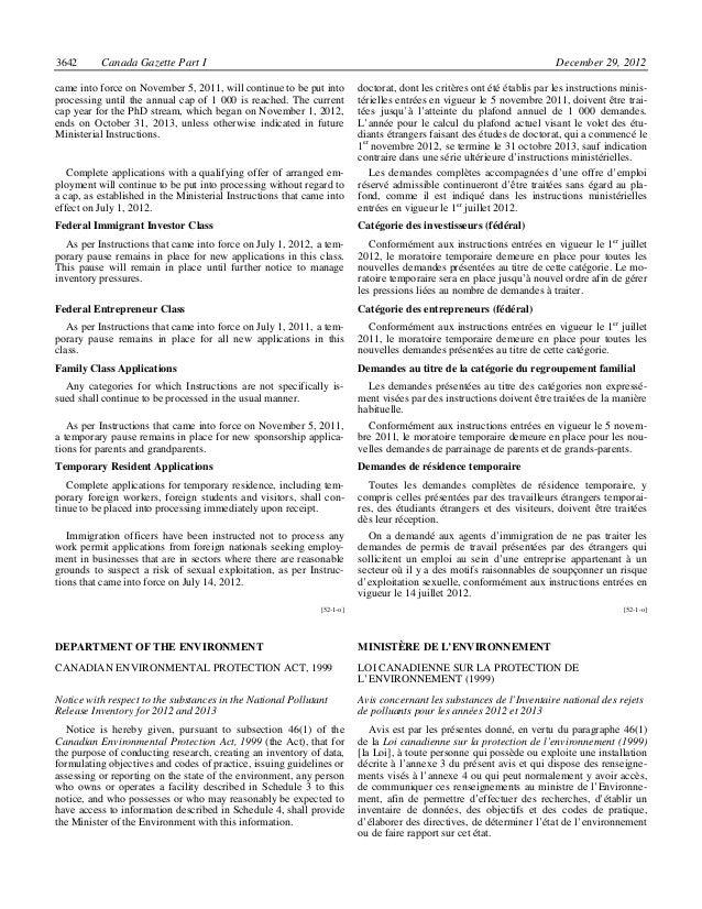 3642      Canada Gazette Part I                                                                                          D...