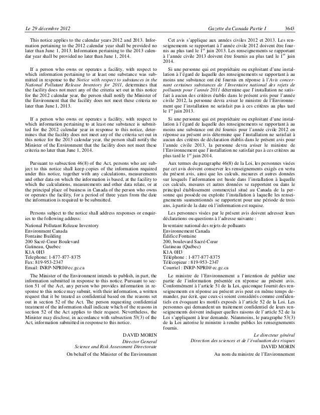Le 29 décembre 2012                                                                            Gazette du Canada Partie I ...