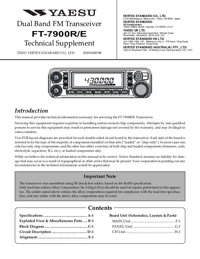 Yaesu FT-7900R Service Manual on