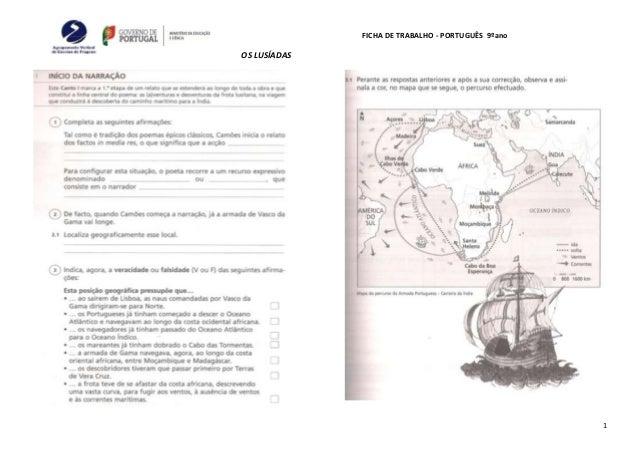 FICHA DE TRABALHO - PORTUGUÊS 9ºano OS LUSÍADAS 1