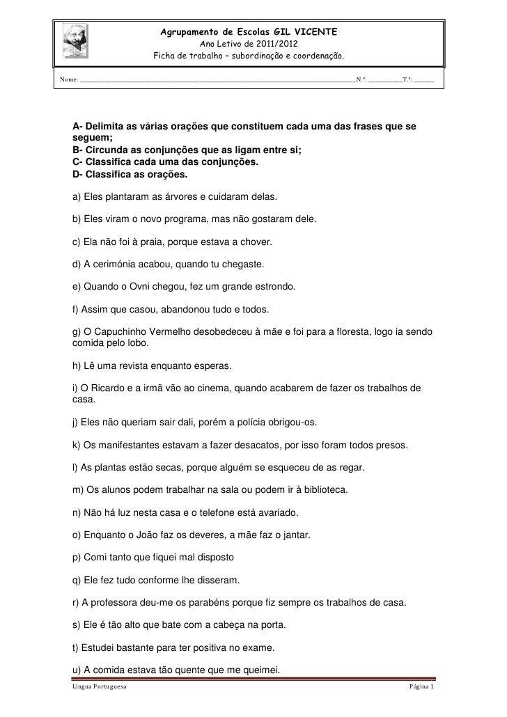 Agrupamento de Escolas GIL VICENTE                                        Ano Letivo de 2011/2012                         ...