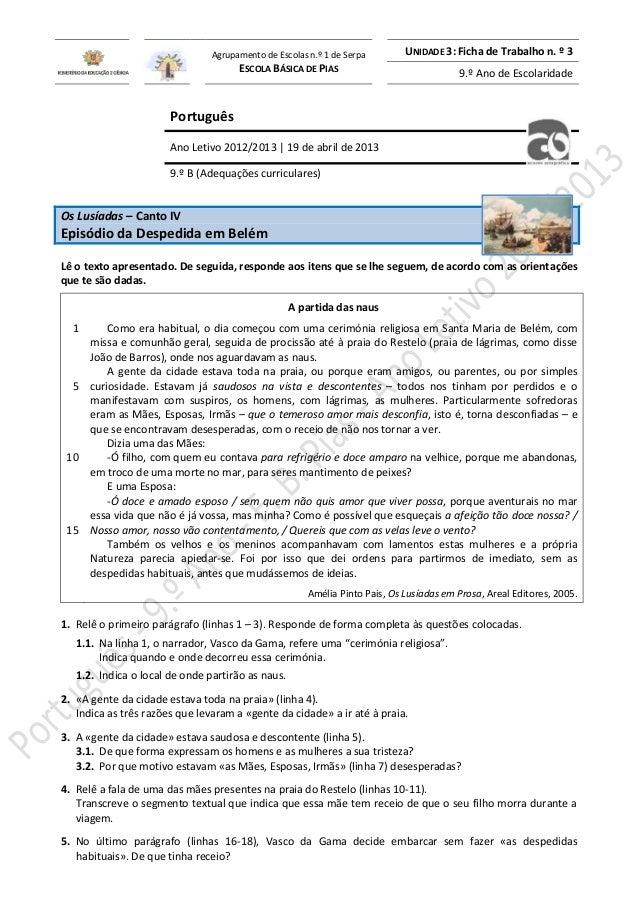 Agrupamento de Escolas n.º 1 de Serpa ESCOLA BÁSICA DE PIAS  UNIDADE 3: Ficha de Trabalho n. º 3 9.º Ano de Escolaridade  ...