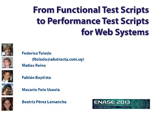Agenda• Introduction and background– Functional Testing Automation– Performance Testing Automation– Motivation• Proposal– ...