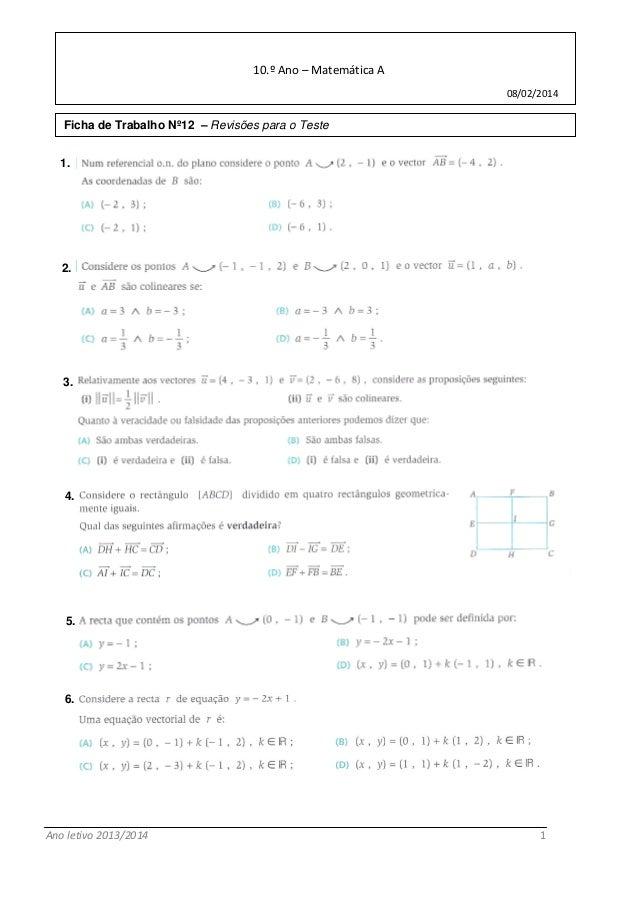 Ano letivo 2013/2014 1  Escola Secundária de Bocage  10.º Ano – Matemática A  08/02/2014  Ficha de Trabalho Nº12 – Revisõe...