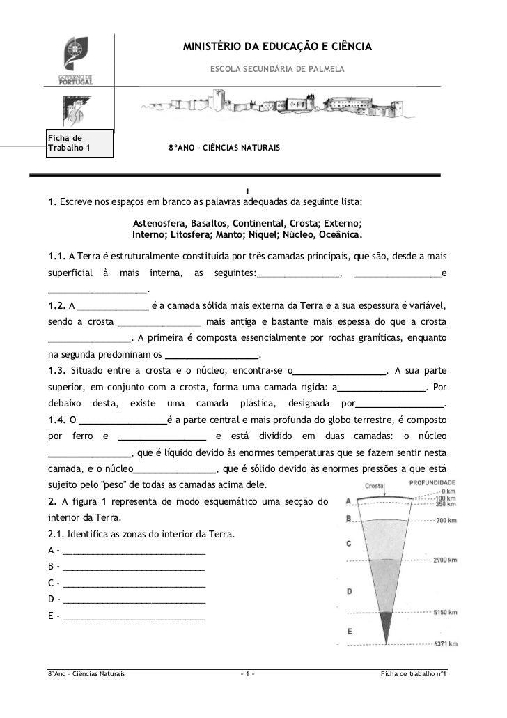 MINISTÉRIO DA EDUCAÇÃO E CIÊNCIA                                                 ESCOLA SECUNDÁRIA DE PALMELAFicha deTraba...