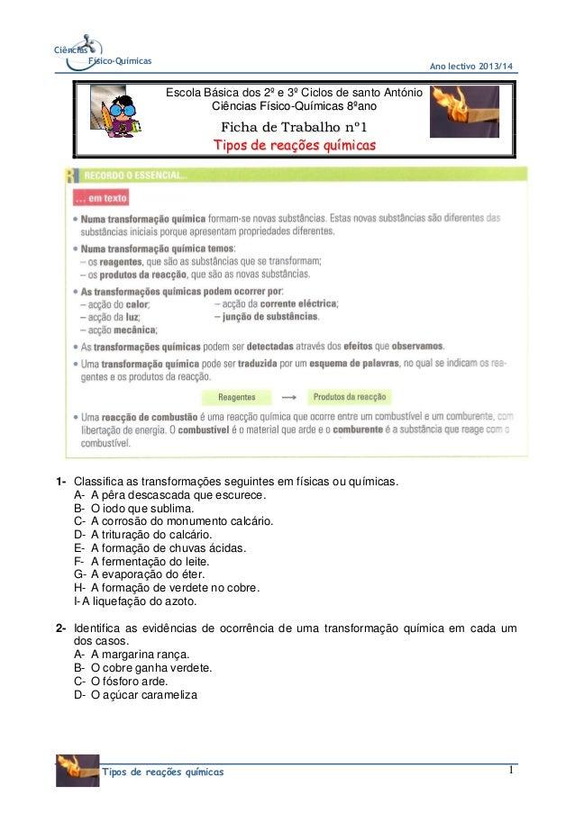 Ciências Físico-Químicas  Ano lectivo 2013/14  Escola Básica dos 2º e 3º Ciclos de santo António Ciências Físico-Químicas ...