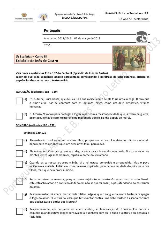 Agrupamento de Escolas n.º 1 de Serpa ESCOLA BÁSICA DE PIAS  UNIDADE 3: Ficha de Trabalho n. º 2 9.º Ano de Escolaridade  ...