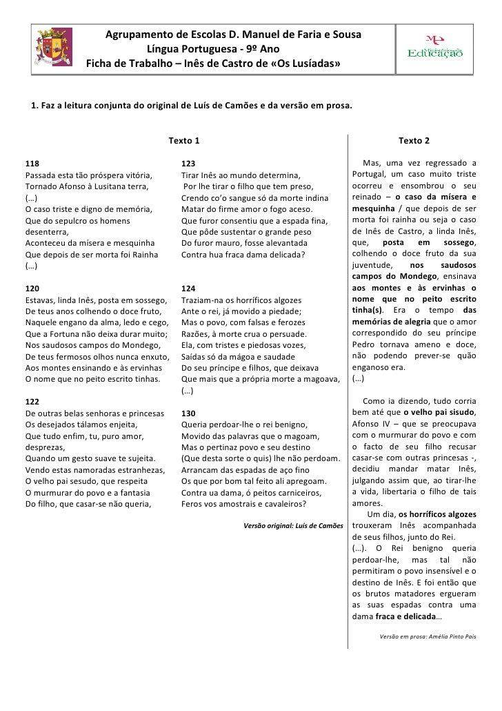 Agrupamento de Escolas D. Manuel de Faria e Sousa                            Língua Portuguesa - 9º Ano                Fic...