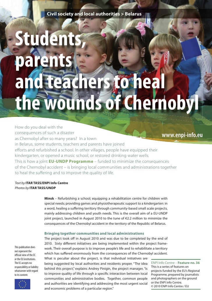 Civil society and local authorities > BelarusStudents,parentsand teachers to healthe wounds of ChernobylHow do you deal wi...