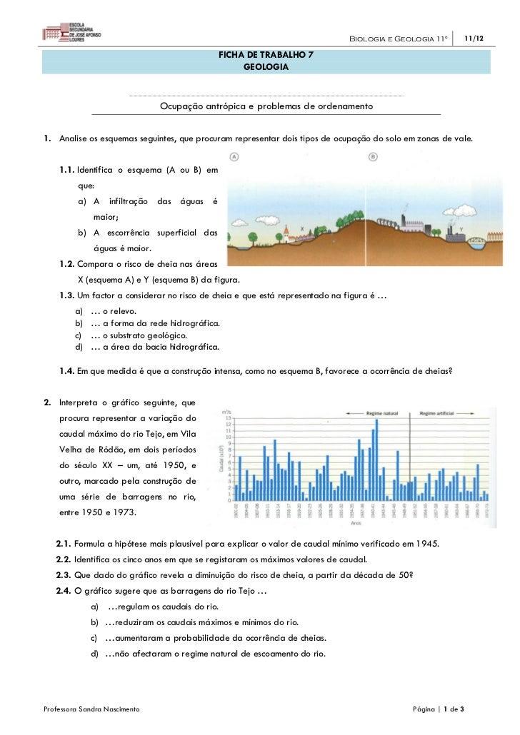 Biologia e Geologia 11º      11/12                                               FICHA DE TRABALHO 7                      ...
