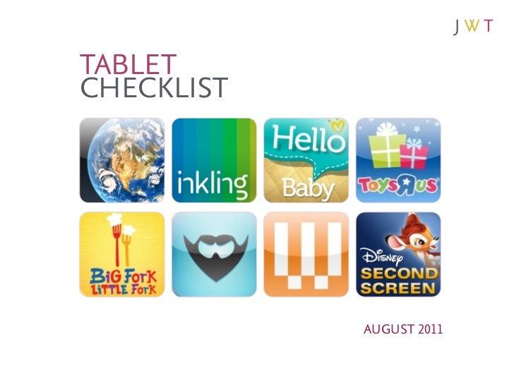 TABLETCHECKLIST            AUGUST 2011