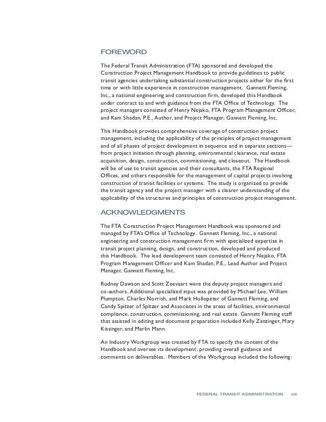 FTA Construction Management Handbook - 2012
