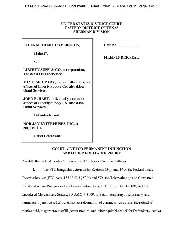 UNITED STATES DISTRICT COURT EASTERN DISTRICT OF TEXAS SHERMAN DIVISION FEDERAL  TRADE COMMISSION, Plaintiff, ...