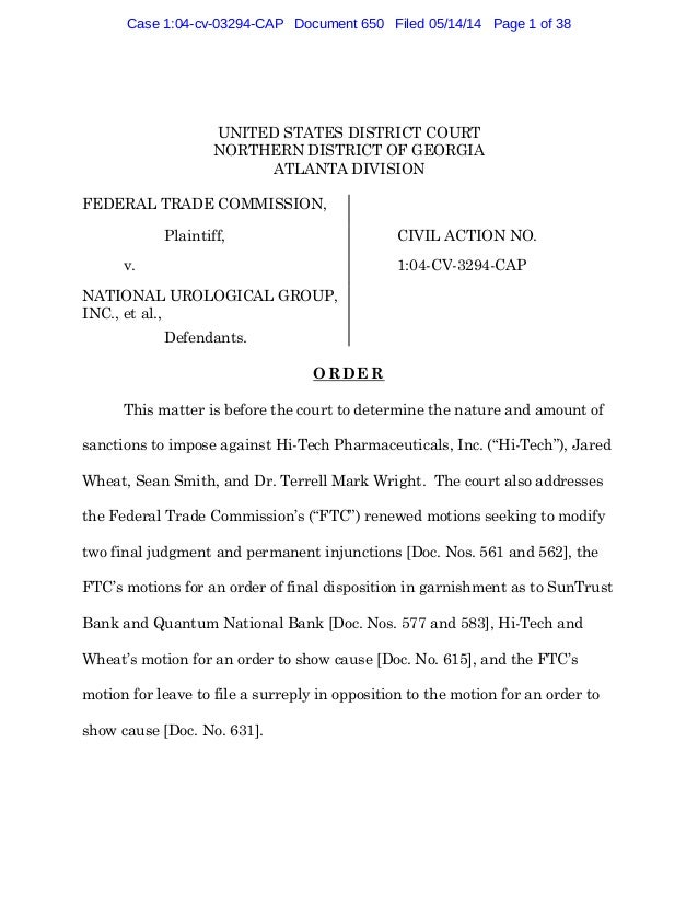 UNITED STATES DISTRICT COURT NORTHERN DISTRICT OF GEORGIA ATLANTA DIVISION FEDERAL TRADE COMMISSION, Plaintiff, CIVIL ACTI...