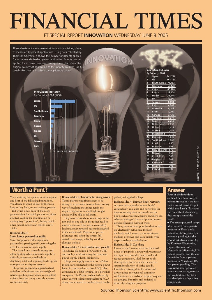 FT SPECIAL REPORT INNOVATION WEDNESDAY JUNE 8 2005    These charts indicate where most innovation is taking place,   as me...