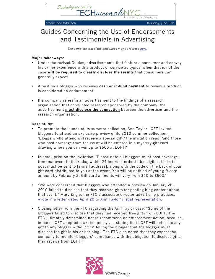 Guides Concerning the Use of Endorsements               and Testimonials in Advertising               ...