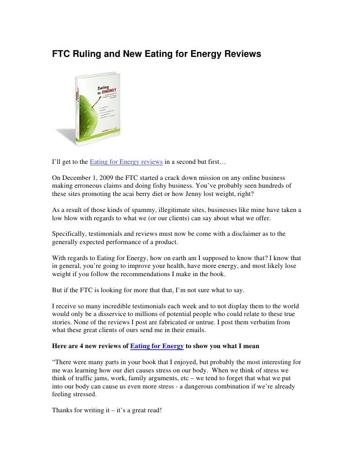 FTC Ruling and New Eating for Energy Reviews     I'll get to the Eating for Energy reviews in a second but first…  On Dece...