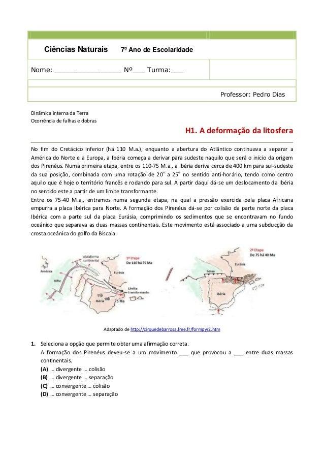 Ciências Naturais  7º Ano de Escolaridade  Nome: ________________ Nº___ Turma:___  Professor: Pedro Dias Dinâmica interna ...