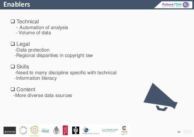 Enablers 10  Technical - Automation of analysis - Volume of data  Legal -Data protection -Regional disparities in copyri...