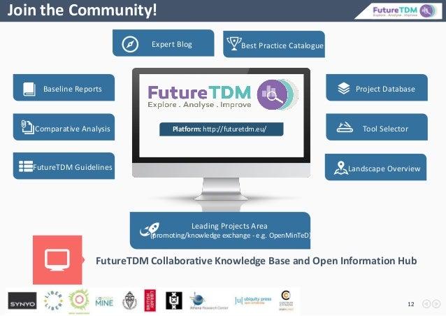 12 Join the Community! FutureTDM Collaborative Knowledge Base and Open Information Hub Platform: http://futuretdm.eu/ Expe...