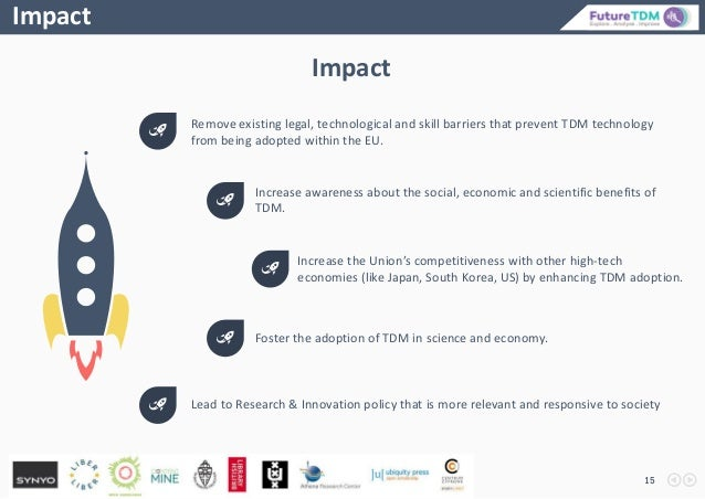 15 Impact Remove existing legal, technological and skill barriers that prevent TDM technology from being adopted within th...