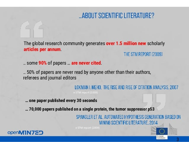 The global research community generates over 1.5 million new scholarly articles per annum. e STM report (2009) … some 90% ...