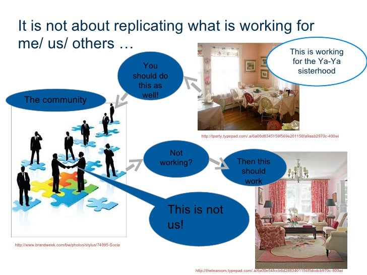 It is not about replicating what is working for me/ us/ others …<br />This is working for the Ya-Ya sisterhood<br />You sh...