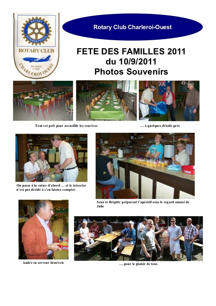 Rotary Club Charleroi-Ouest                                       FETE DES FAMILLES 2011                                  ...
