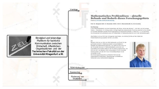 Bindglied und lebendige Plattform f�r fachliche Kommunikation zwischen Wirtschaft, �ffentlichen Organisationen und der Tec...