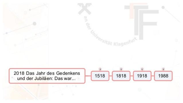2018 Das Jahr des Gedenkens und der Jubil�en: Das war... 1518 1818 1918 1988