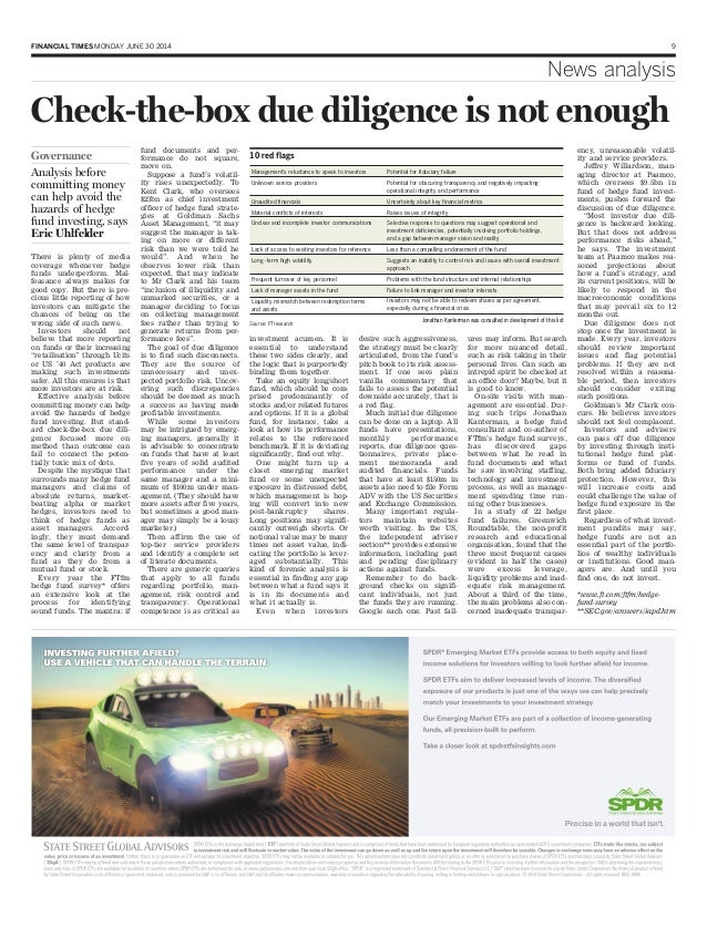 FINANCIAL TIMES MONDAY JUNE 30 2014 9 News analysis Checkthebox due diligence is not enough There is plenty of media cov...