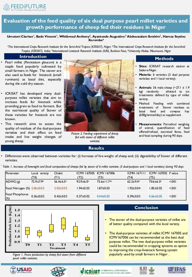 Evaluation of the feed quality of six dual purpose pearl millet varieties and growth performance of sheep fed their residu...
