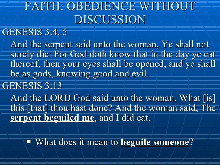 A discussion on obedience and disobedience