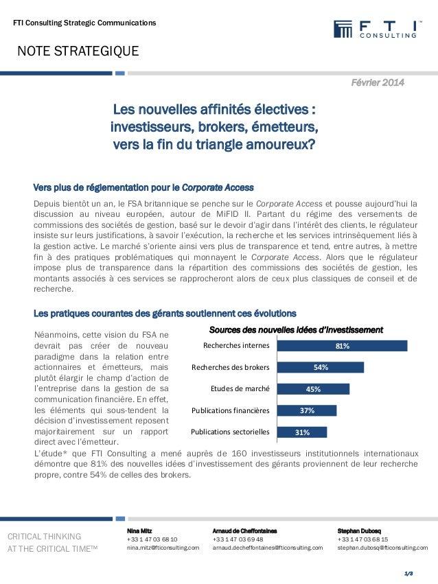 FTI Consulting Strategic Communications  NOTE STRATEGIQUE Février 2014  Les nouvelles affinités électives : investisseurs,...
