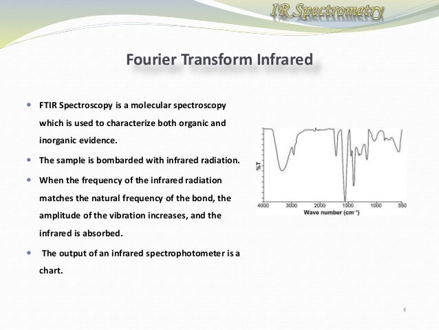 fourier transform infrared spectroscopy essay Fourier transform infrared spectroscopy (ftir spectroscopy) covers a wide  range of chemical applications, especially for polymers and organic compounds.