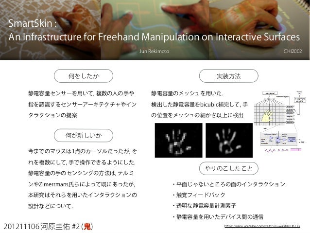 201211106 河原圭佑 #2 (鬼) SmartSkin : An Infrastructure for Freehand Manipulation on Interactive Surfaces Jun Rekimoto 何をしたか 静...