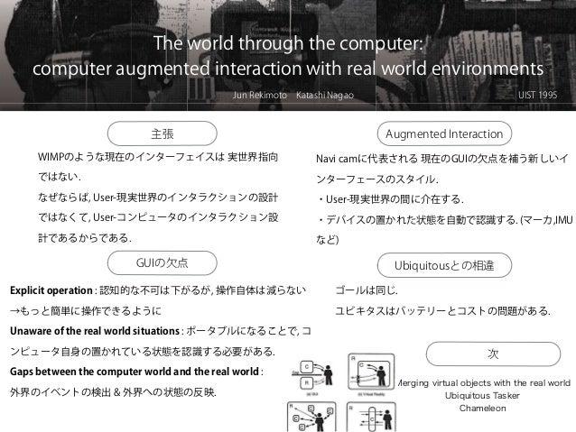 The world through the computer: computer augmented interaction with real world environments Jun RekimotoKatashi Nagao UIS...