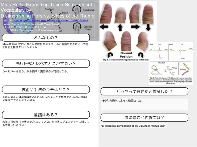 MicroRolls: Expanding Touch-Screen Input Vocabulary by Distinguishing Rolls vs. Slides of the Thumb Anne Roudaut1,2 Eric L...